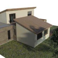 plan 3D projet extension en bois en Corse